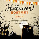 Halloween vampire cat spooky party.