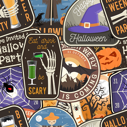 Halloween patches colorful seamless pattern with scarecrow with raven, pumpkin, skeleton hand, cemetery, glass of magic beer Vector. Halloween background, wallpaper, seamless pattern with patches