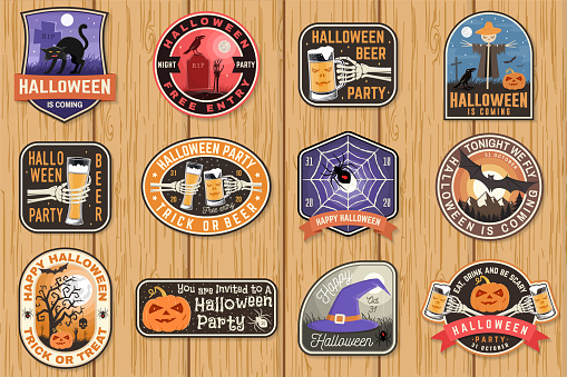 Halloween patches. Halloween retro badge, pin Sticker for logo, print, seal, stamp, patch. Scarecrow with raven, pumpkin, skeleton hand, cemetery, glass of magic beer. Typography design- stock vector