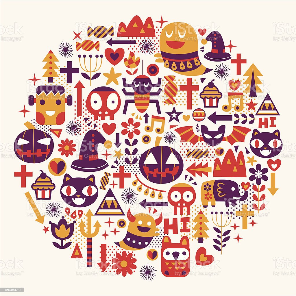 Halloween pattern circle royalty-free halloween pattern circle stock vector art & more images of animal markings