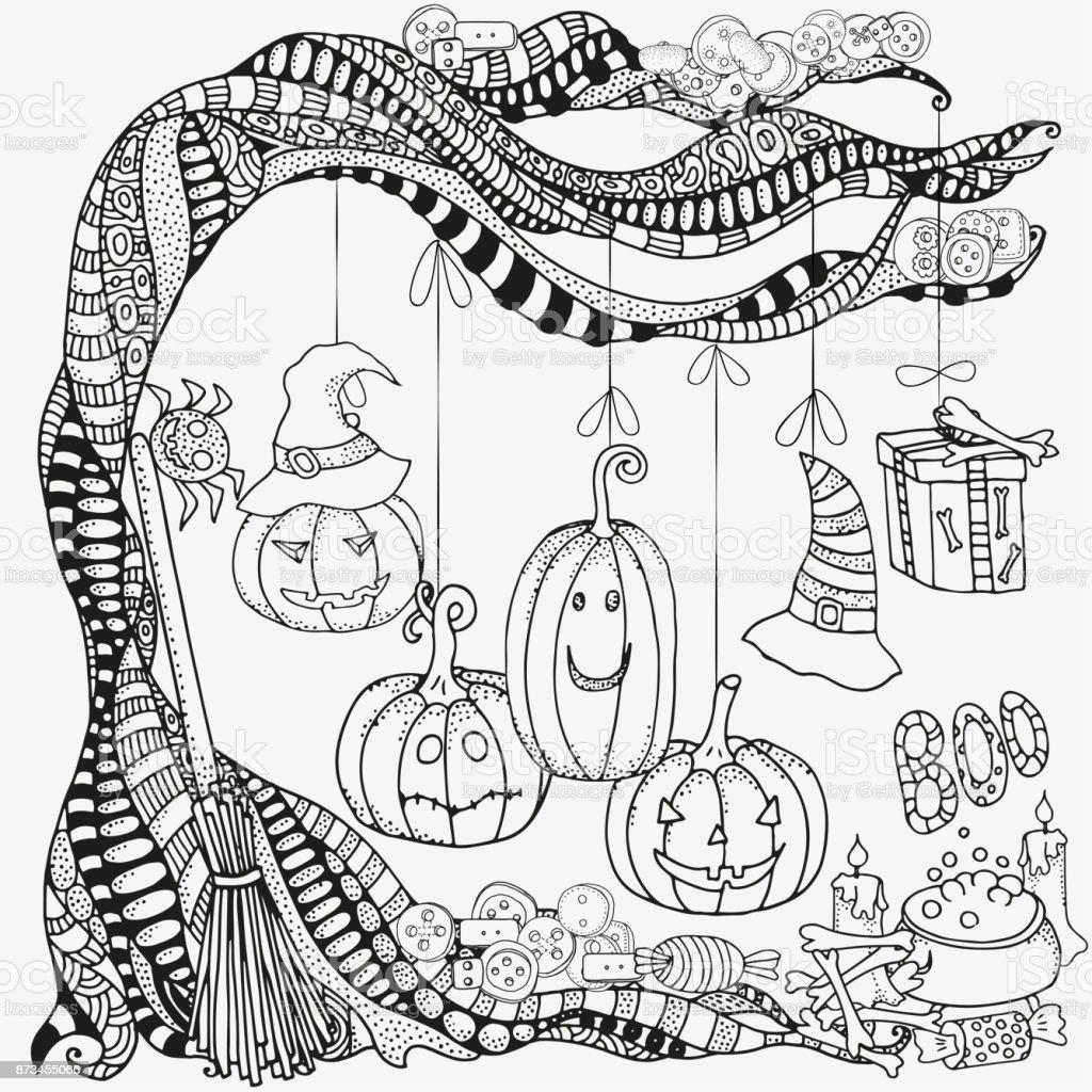 Cadılar Bayramı Boyama Kitabı Için Desen Dizi Cadılar Bayramı