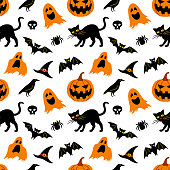 Vector seamless pattern for Halloween. Seamless background with Halloween elements: jack-o-lantern, black cat, ghosts, raven, bats, witch's hat, skull and spider