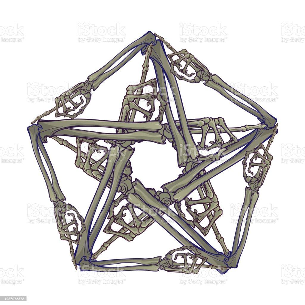Halloween Pentagrame Os De Main Humaine Disposes En Un Ornement