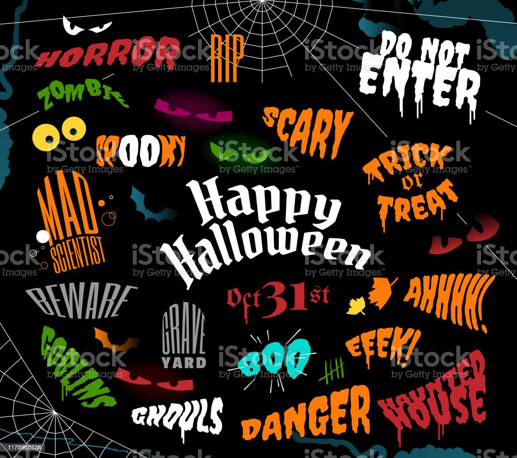 Halloween Phrases.Halloween Phrases And Sayings Text Stock Illustration Download Image Now Istock