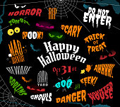 Halloween phrases designed in various text styles and colors