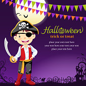 Little boy dress up pirate costume on Halloween asking for candy or other treats.