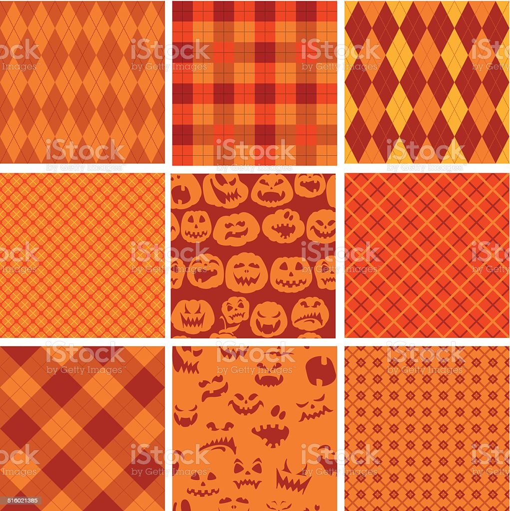 Halloween Tartán Patrones En Colores Naranja Y Café - Arte vectorial ...