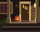 Halloween Porch with Pumpkin