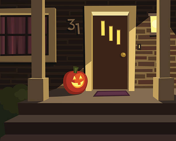 Halloween Porch with Pumpkin A cheery front porch is ready for Halloween with a jack-o'-lantern. front stoop stock illustrations