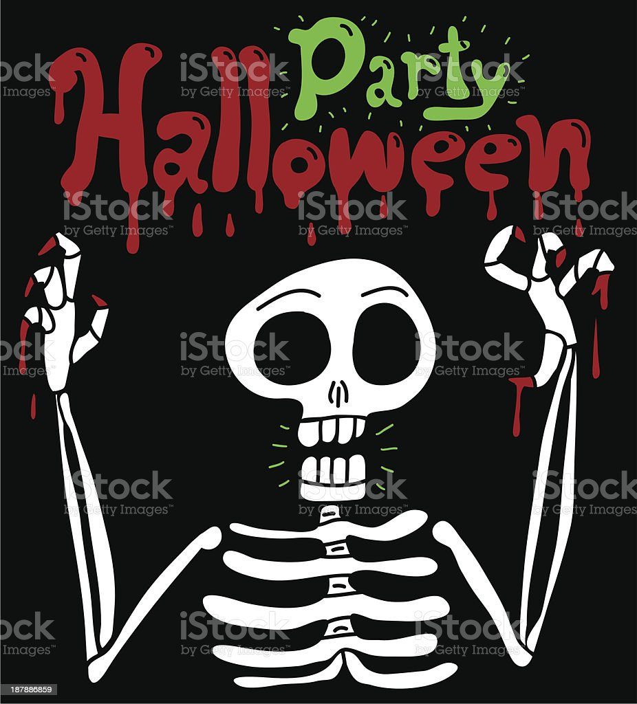 Halloween postcard with spooky skeleton royalty-free halloween postcard with spooky skeleton stock vector art & more images of black background