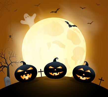 Cadılar Bayramı Poster Kart Veya Arka Plan Ile Kabak Ayın Altında Vektör  Çizim Stok Vektör Sanatı & ABD'nin Daha Fazla Görseli - iStock