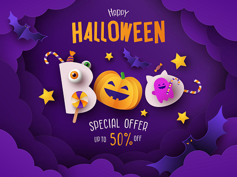 Halloween poster, card or party invitation banner with text Boo! Happy Halloween and with cute pumpkin, candies, bats and ghost in night clouds