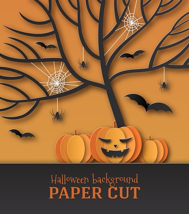 Halloween poster illustration, banner. Greeting card, design in the style of paper cut, art. Spiders, spider web, smiling pumpkin under the tree and bats on an orange background. Place for text