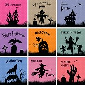 Set of posters for Halloween sale