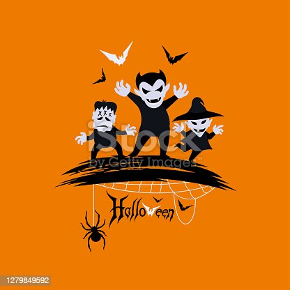 istock Halloween poster. Monsters and flying bats. 1279849592