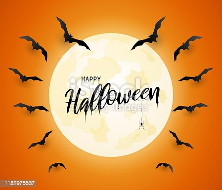 istock Halloween poster, orange background with flying bats and moon. Vector 1182975537