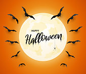 Halloween poster, orange background with flying bats and moon. Vector illustration. EPS10