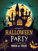 istock Halloween poster. Scary party invitation flyer template with horror symbols pumpkin bones skull vector halloween background 1175453325