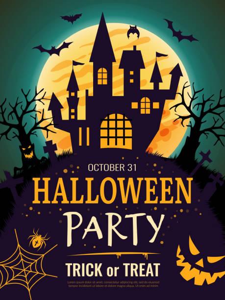 illustrazioni stock, clip art, cartoni animati e icone di tendenza di poster di halloween. spaventoso modello di volantino per invito alla festa con simboli horror ossa di zucca teschio vettore sfondo halloween - halloween