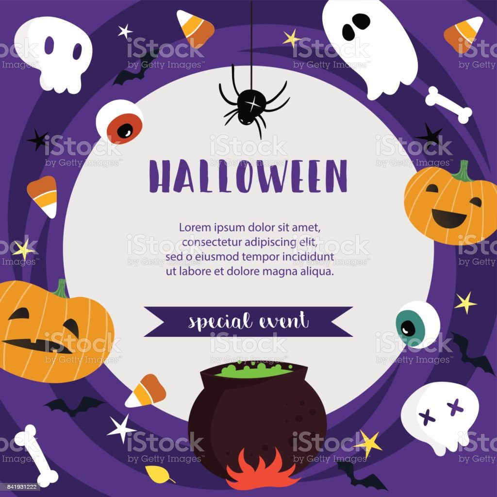 Halloween Poster Template For Special Event Advertisement Vector Illustration Royalty Free