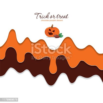 Halloween poster template with copy space for your text. Melted flowing chocolate and pumpkin cream background. 3d paper cut out layers. Vector illustration