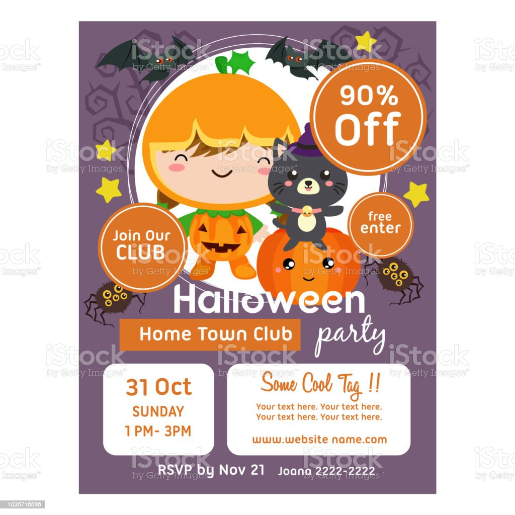 Halloween Poster Template With Pumpkin Kids Royalty Free Stock