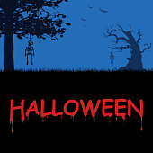 Vector Halloween Poster with Spooky Night Graveyard and Skeletton, Hanging on Tree