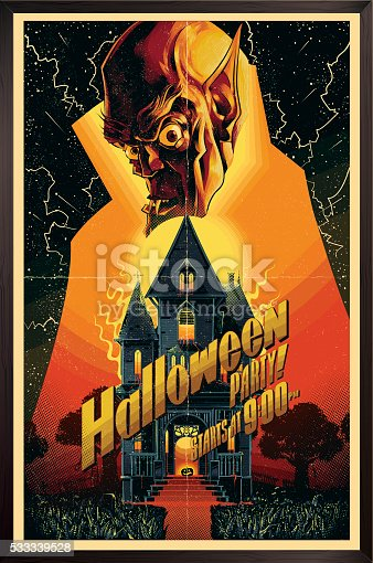 Halloween poster in vintage horror movie style, eps9