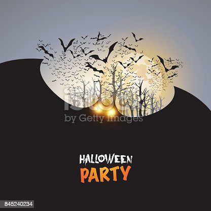 Happy Halloween Design with Bats Flying Under Yellow Moon - Illustration in Editable Vector Format