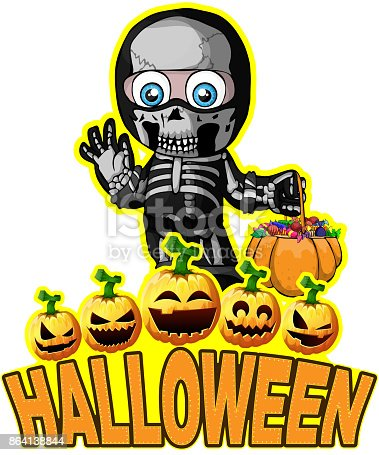 Halloween Poster With A Boy In A Suit Skeleton Stock Vector Art & More Images of Autumn 864138844