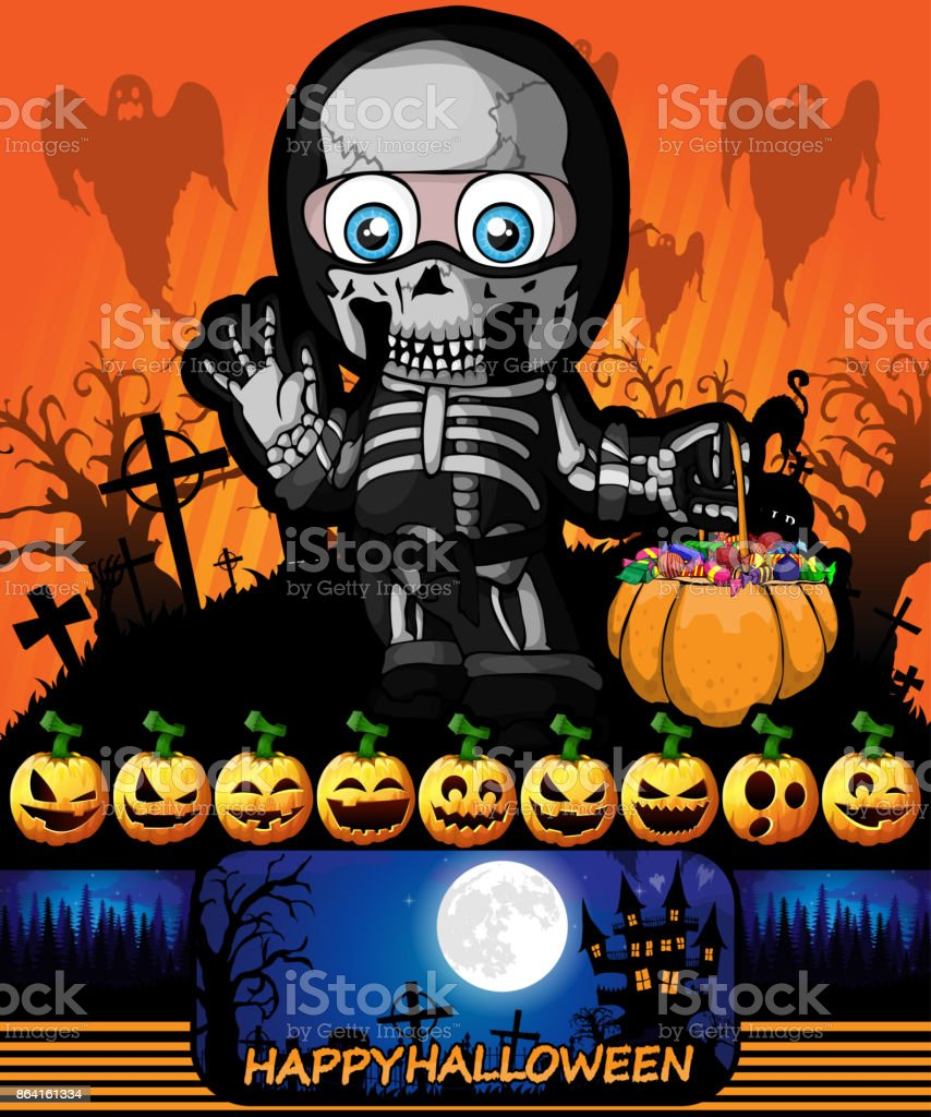 Halloween poster with a boy in a suit skeleton. Vector illustration. royalty-free halloween poster with a boy in a suit skeleton vector illustration stock vector art & more images of abstract