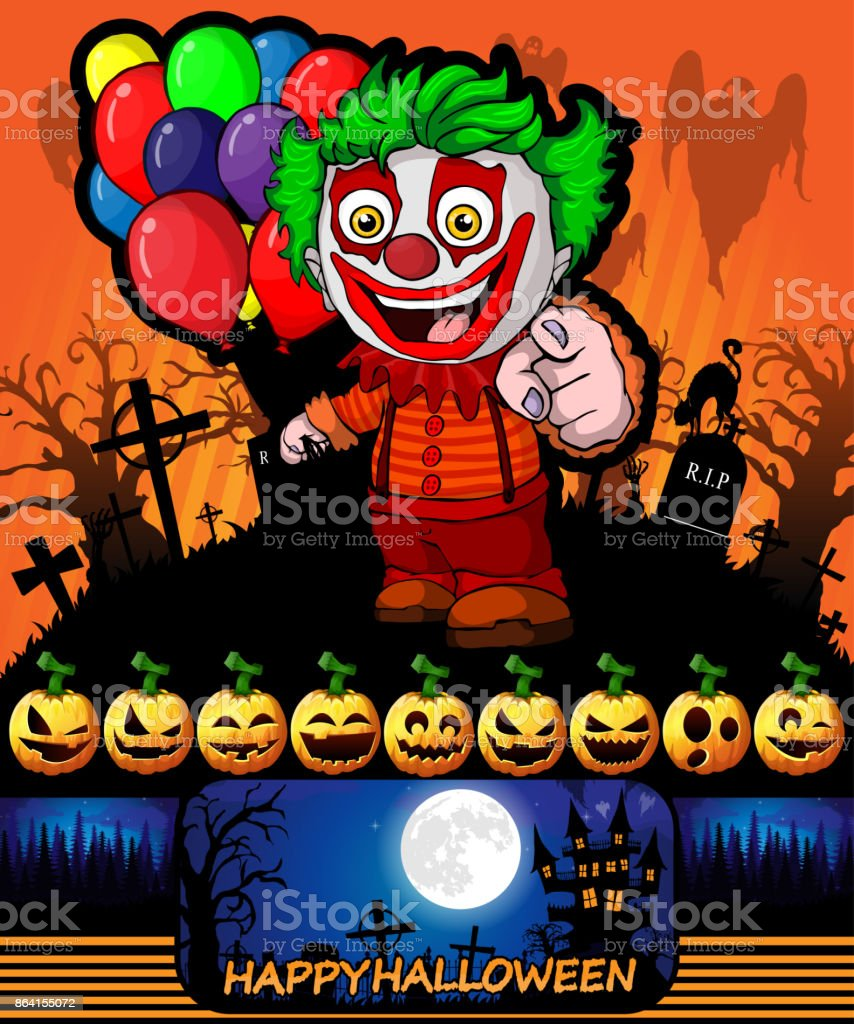 Halloween poster with clown holding a balloons. Vector illustration. royalty-free halloween poster with clown holding a balloons vector illustration stock vector art & more images of abstract