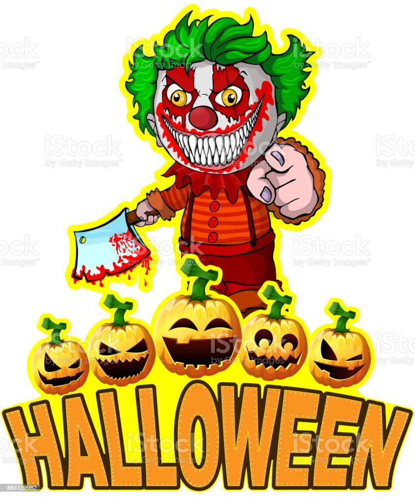 Halloween Poster with clown holding a knif. royalty-free halloween poster with clown holding a knif stock vector art & more images of adult