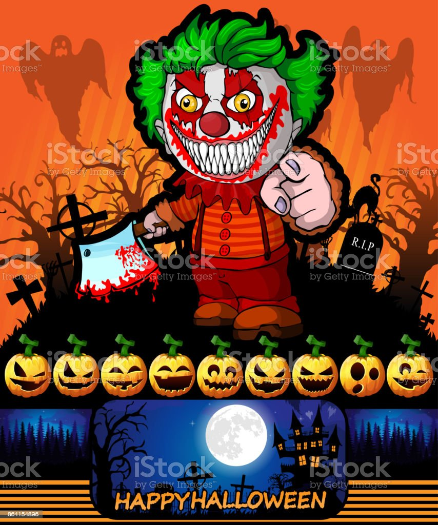 Halloween poster with clown holding a knife. Vector illustration. royalty-free halloween poster with clown holding a knife vector illustration stock vector art & more images of abstract