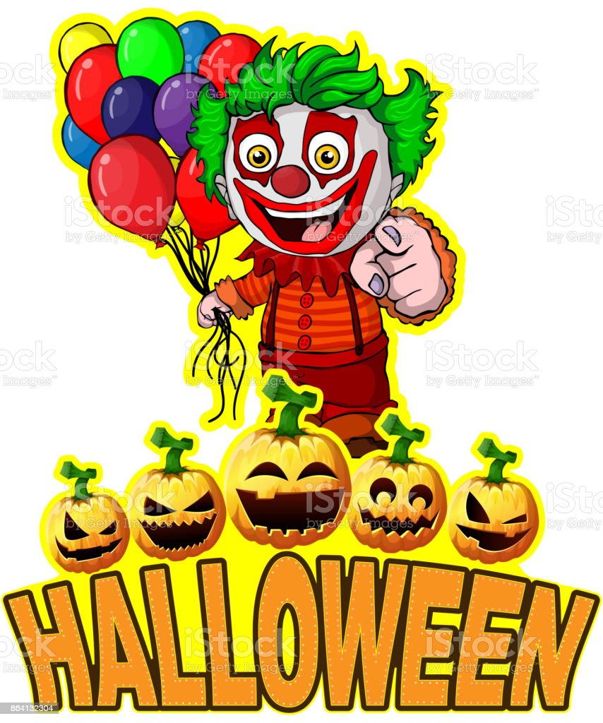 Halloween Poster with clown holding balloons. royalty-free halloween poster with clown holding balloons stock vector art & more images of activity