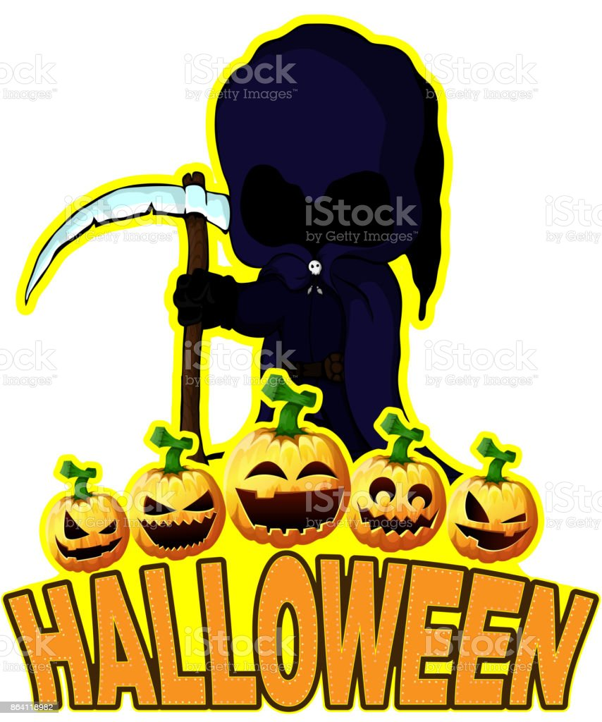 Halloween Poster with Dark reaper. royalty-free halloween poster with dark reaper stock vector art & more images of angel