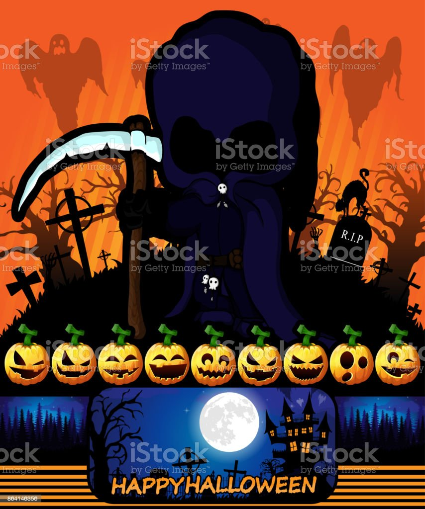 Halloween poster with dark reaper. Vector illustration. royalty-free halloween poster with dark reaper vector illustration stock vector art & more images of abstract