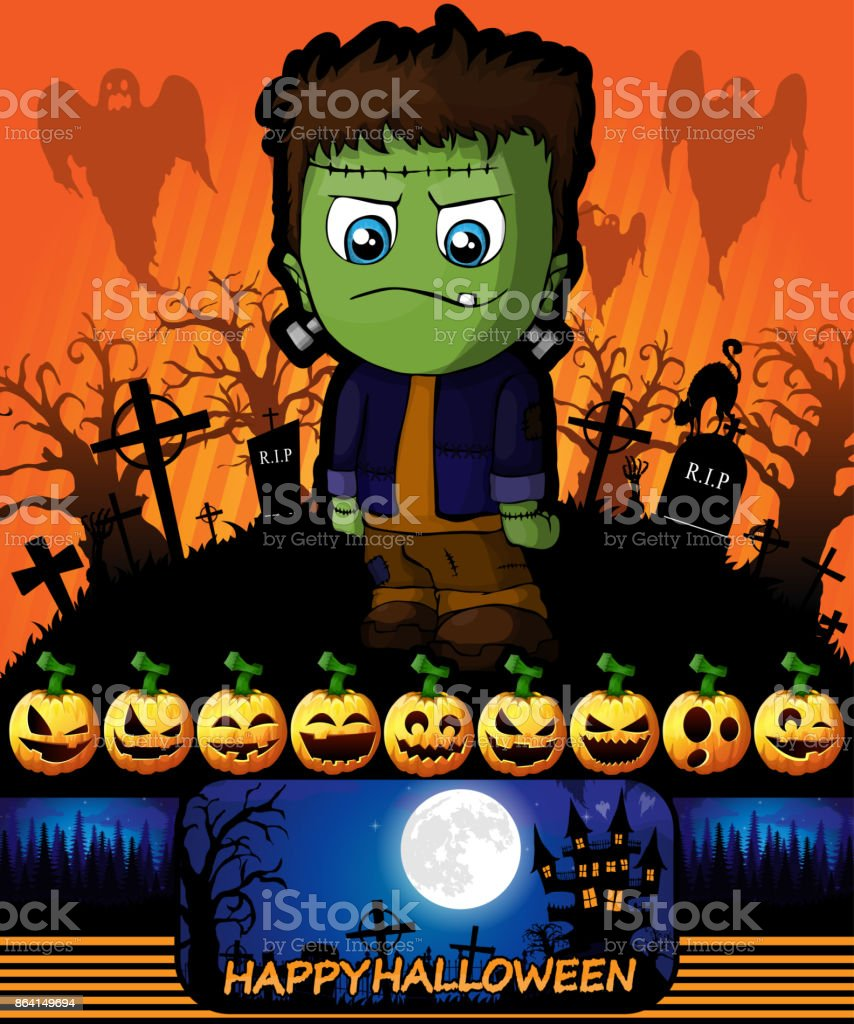 Halloween poster with Frankenstein. Vector illustration. royalty-free halloween poster with frankenstein vector illustration stock vector art & more images of abstract