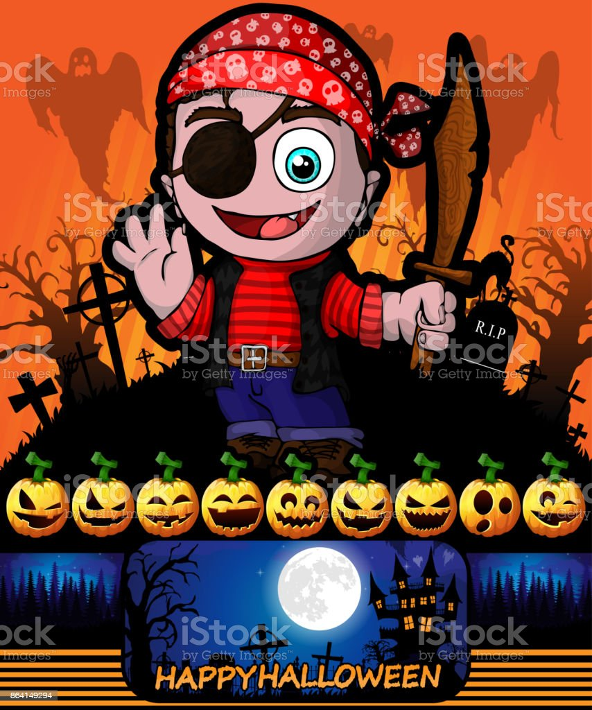 Halloween poster with killer with pirate. Vector illustration. royalty-free halloween poster with killer with pirate vector illustration stock vector art & more images of abstract