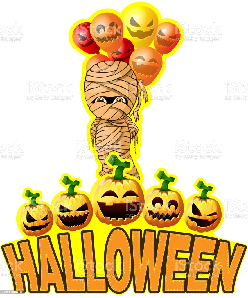 Halloween Poster with mummy with balloons royalty-free halloween poster with mummy with balloons stock vector art & more images of ancient