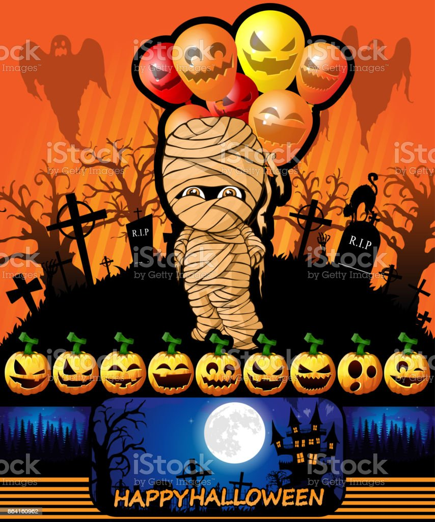 Halloween poster with mummy with balloons. Vector illustration. royalty-free halloween poster with mummy with balloons vector illustration stock vector art & more images of abstract