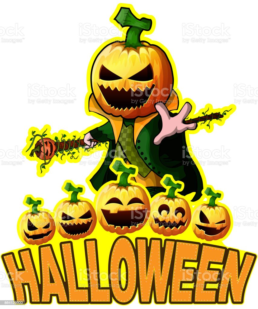 Halloween Poster with Pumpkin Cartoon Character. royalty-free halloween poster with pumpkin cartoon character stock vector art & more images of adult