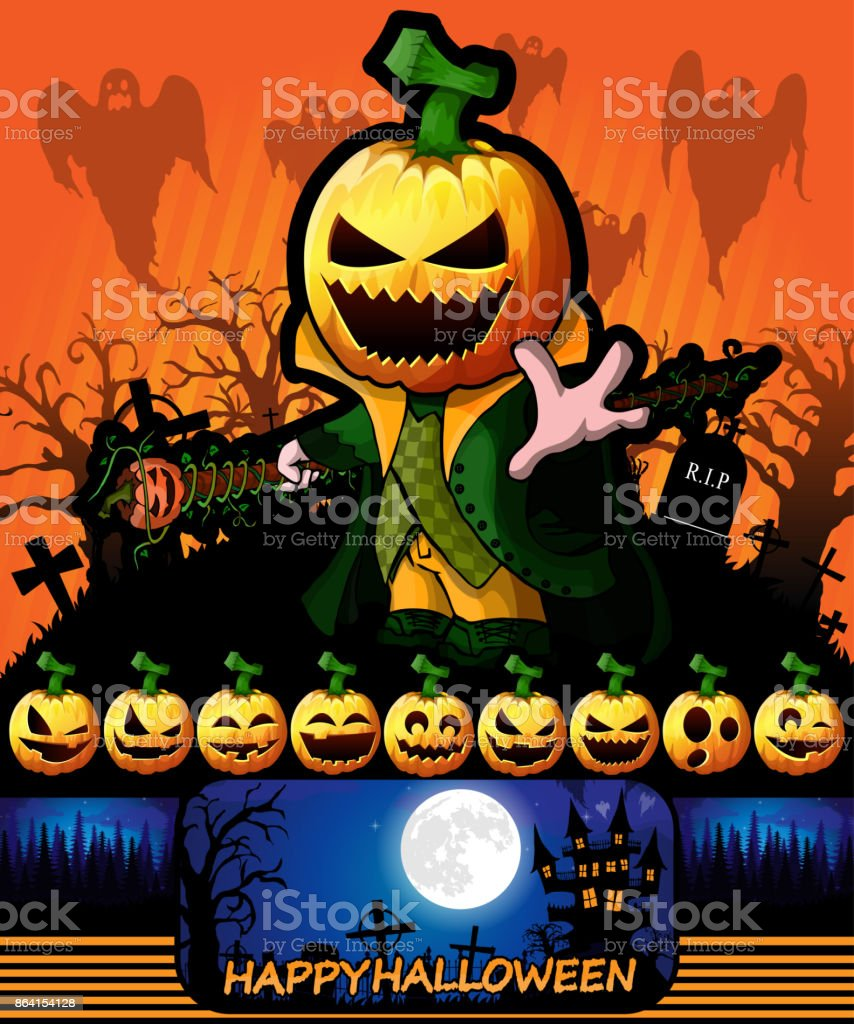 Halloween poster with Pumpkin Cartoon Character. Vector illustration. royalty-free halloween poster with pumpkin cartoon character vector illustration stock vector art & more images of abstract