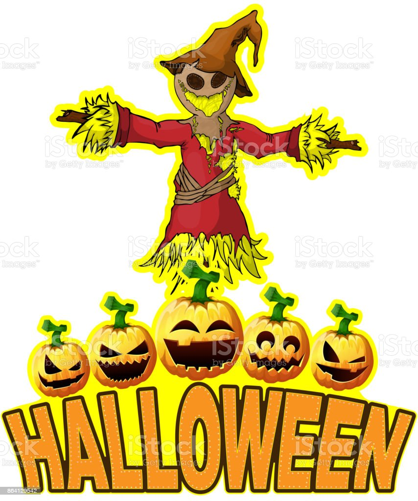 Halloween Poster with Scarecrow. royalty-free halloween poster with scarecrow stock vector art & more images of autumn