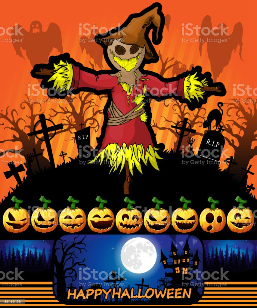 Halloween poster with scarecrow. Vector illustration. royalty-free halloween poster with scarecrow vector illustration stock vector art & more images of abstract