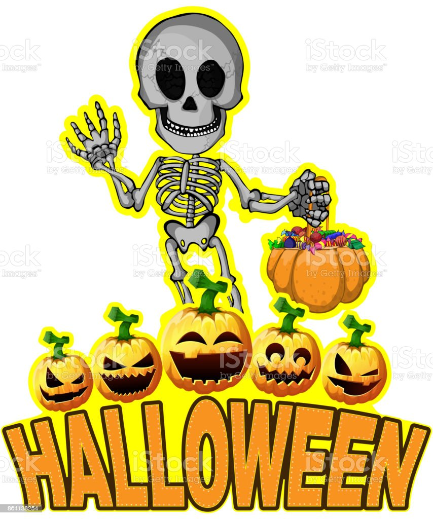 Halloween Poster with skeleton. royalty-free halloween poster with skeleton stock vector art & more images of anatomy