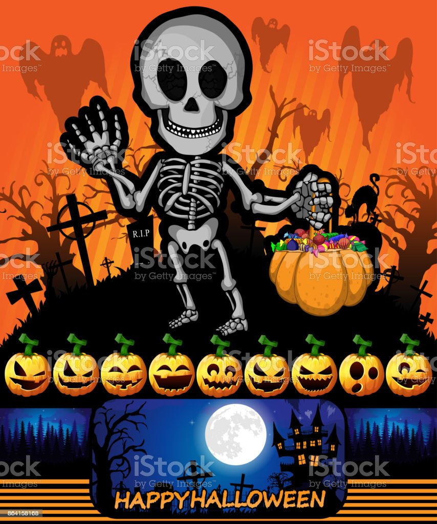 Halloween poster with skeleton. Vector illustration. royalty-free halloween poster with skeleton vector illustration stock vector art & more images of abstract