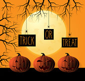 Halloween poster with smiling pumpkins and spiders holding board. Trick or treat. Vector illustration. EPS10
