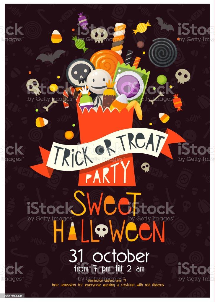 Affiche d'Halloween avec bonbons - Illustration vectorielle