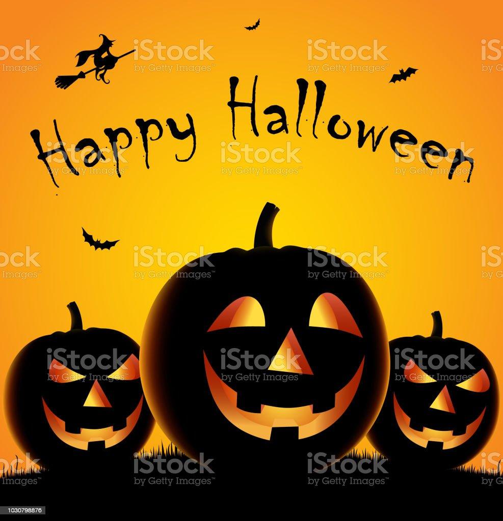 Halloweenposter Mit Drei Kurbisse Und Hexe Vorlage Stock Vektor Art